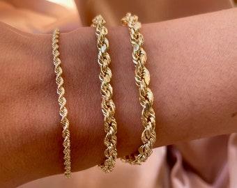 Solid 10K Rope Chain Bracelet - Ladies Solid Gold Rope Bracelet - Real Gold Twist Bracelet Chain - 10K Gold Rope Bracelet