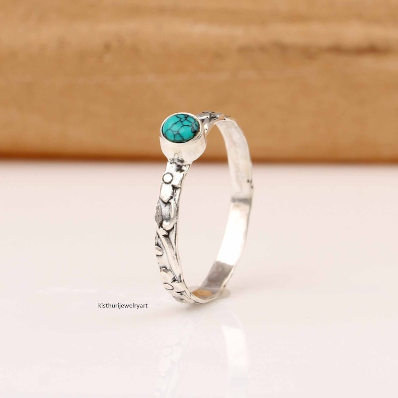 Turquoise Bands Rings 925 Sterling Silver Ring Anxiety Ring Fidget Ring Boho Ring Worry Ring Women Ring Texture SS36