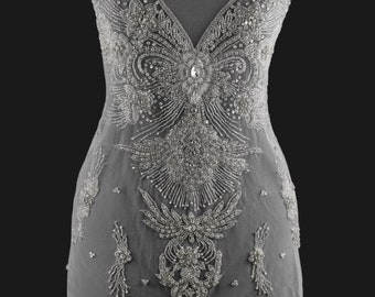 Beaded Applique - Wedding Dress Embroider - Antique Bodice - Wedding Gown Trim - Full Bodice Top - Heavy Crystal Bodice - Haute Couture