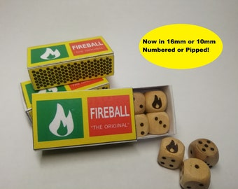 D&D Fireball Matchbox 8d6 Dice Set - PIPPED OR NUMBERED / 10mm or 16mm