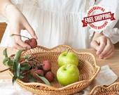 Handwoven Rattan Storage Baskets - Fruit Baskets - Wicker Rattan Trays - Handicrafts Home Decoration - Woven Display Rattan Kitchen Basket