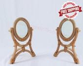 Handmade Table Makeup Mirror - Natural Rattan Dressing Retro Mirror - Standing Flip Makeup Mirror - Home Decoration Mirror - Rattan Mirrors
