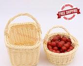 Handmade Rattan Woven Carrying Baskets - Flower Fruit Storage Baskets - Wedding Party Decor - Rattan Handicrafts - Handwoven Gift Baskets