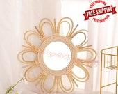 Handwoven Rattan retro Dressing Mirror - Innovative Art Decoration Mirror - Delicate Wall Hanging Makeup Mirrors - Rattan Bathroom Mirrors