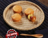 Handmade Wicker Bamboo Storage Basket - Vintage Style Bamboo Tea Tray - Eco-friendly Natural Bamboo Fruit Food Storage Tray For Home Kitchen