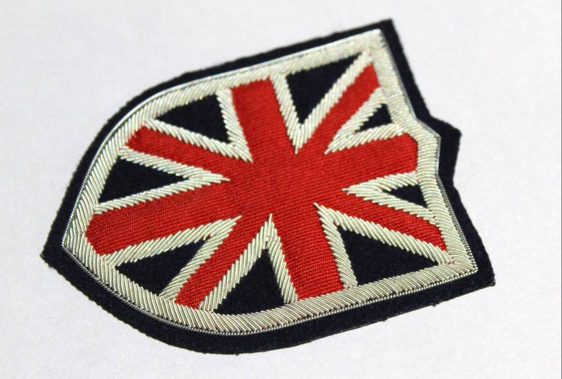 UK Badge Handmade sewn on navy felt