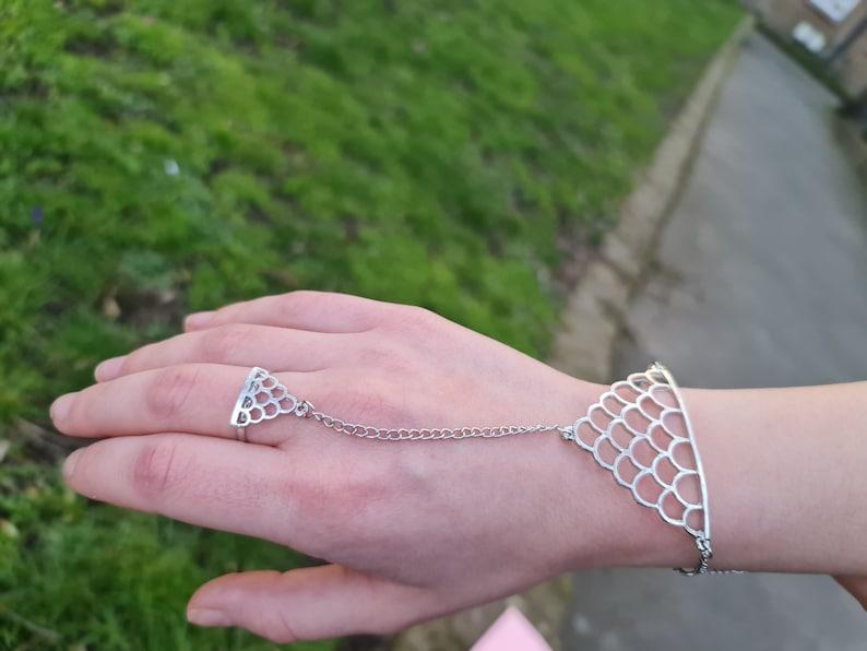 silver plated mitten bracelet