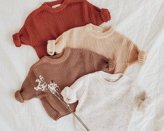 Chunky Knit Oversized Sweater, Baby & Toddler Gender Neutral Pullover Sweater, Baby Shower Gift