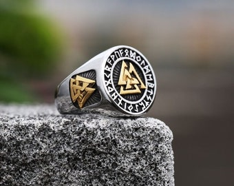 Vikings Triangle Ring Nordic Odin Jewelry Cool Men Gold and Silver Color Viking Stainless Steel Biker Rings