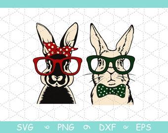 Easter clipart Bunny glasses bandana Realistic face Vector graphics RABBIT monogram svg files for cricut Rabbit SVG Head Printable art