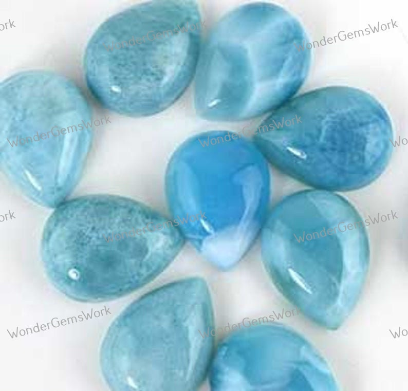 5x7mm 12x16mm. 7x10mm 8x12mm Natural Larimar 3x5mm-12x16mm Pear Cabochon Free Delivery Loose Gemstone 3x5mm 4x6mm 6x9mm