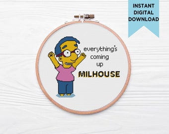 Everything's Coming Up Milhouse Cross Stitch Pattern, Simpsons cross stitch, beginner cross stitch
