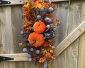 Fall pumpkin swag front door, Fall pumpkin swag, Fall harvest pumpkin swag, Fall Harvest pumpkin swag for front door, Pumpkin centerpiece