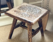Hand Carved Wooden Stool - Tree Style Stool - Wooden Bench