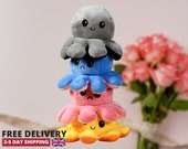 Cute Octopus Plush Toy Reversible Flip Adorable Stuffed Soft Toy Perfect Gift for Kids Adults UK