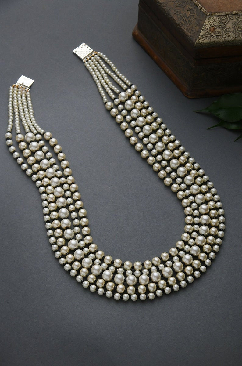 24 Inches Black-White Pearl Beaded Multistrand NecklacePearl NecklaceIndian JewelleryEthnic JewelleryHandmade item Necklace length