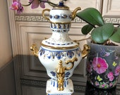 Vintage Russian decorative hand-painted porcelain samovar with mini-kettle, Gel, Paint Gold, Cobalt, with the symbol - 1980 Moscow Olympics