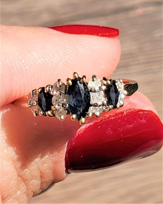 14k Yellow Gold Vintage Sapphire and Diamond Ring