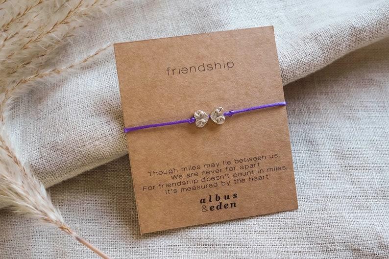 Friendship Charm Bracelet Handmade Jewellery Purple Wish image 0