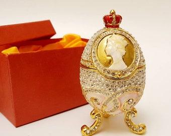 Faberge egg jewelry box metal/&ceramic hand made 7cm