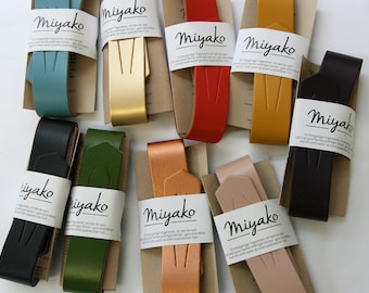 MIYAKO leather straps, various colours, pocket handle, leather handle