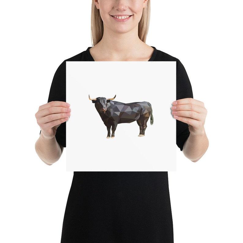 Home Decor Bull Poster Print: Animal Print Polygonal Design Polygonal Animal Art Art Print Wall Print Farm Animal