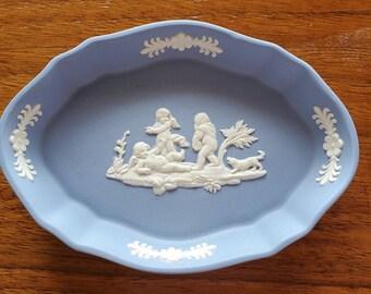 Wedgwood Made in England Blue Jasper Vanity Pin Dish Tray Vtg 60s