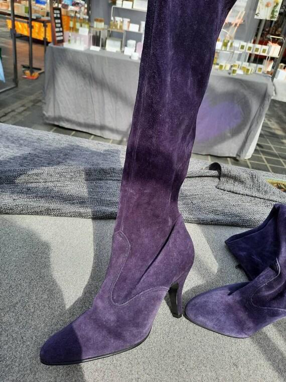 Vintage purple suede boots,  suede boots, size 5 v