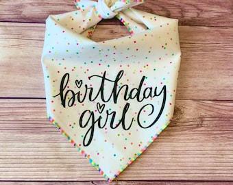 Birthday Girl Rainbow Confetti Squares Tie-On Dog Bandana | first birthday | puppy bandana | new puppy | birthday girl