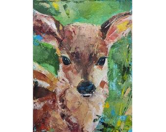 wall decor framed art wall art robin folk art painting art Fawn original art baby deer tulips recycled art