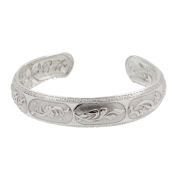 6 inches 12mm Ladies Estate 925 Silver Flower Floral Spoon Handle Bracelet