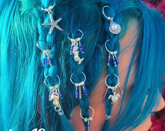 Reiki Accessories Braid Rings Loc Charms Chakra Healing Hair Jewelry SET OF 6
