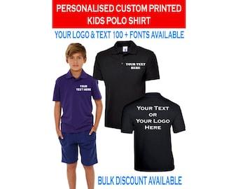 Uneek UC103 Kids Polo Shirt Custom Printed Personalized Children's School Top