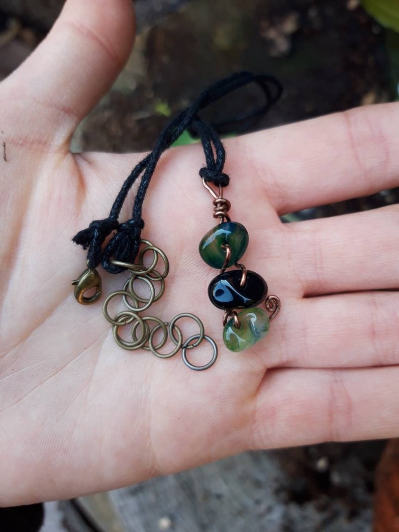 Handmade unique piece Green Agate and Obsidian Pendant