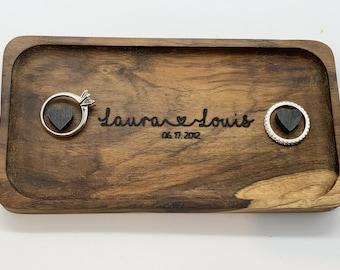 Teak Wedding ring tray/ring bearer tray/ring display