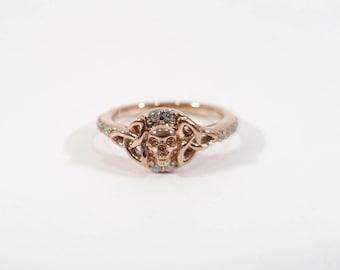 """0.22tcw Diamond Celtic Trinity Skull Engagement Ring, Handmade Skull Ring, Rose Gold Fn 925 Sterling Silver Or 10k Rose Gold, """"Dfine Skulls"""""""
