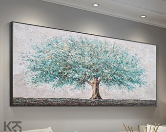 Extra Large Wall Art Abstract Tree Art Tree Painting Colorful Wall Art Canvas Art Original Artwork Canvas Wall Painting For Living Room