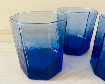 Set of 4 Cobalt Blue Tumblers with Texture | Trendy Glassware