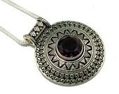 New Amethyst Stone Handmade silver Plated Pendant Necklace, Amethyst Pendant , Amethyst Necklace , Amethyst jewelry
