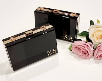 Black Acrylic Clutch with FREE personalisation and FREE delivery Australia wide!