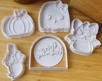 Halloween - Cookie Cutters and Fondant - Ghost Skeleton Grave Bat Eye Pumpkin cookie cutter Stamp DIY
