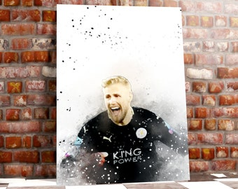 Kasper Schmeichel Leicester City Iconic Art Print Box Framed Picture Wall Hanging