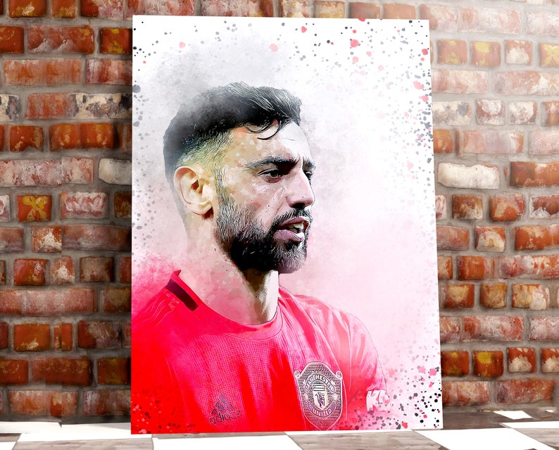 Bruno Fernandes Iconic Moment Manchester United Art Print Box Framed Picture Wall Hanging
