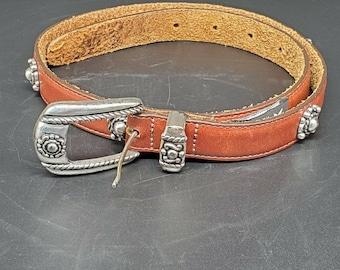 Vintage Brighton 38707 1996 Ladies Size S Western Style Leather Belt Embellished