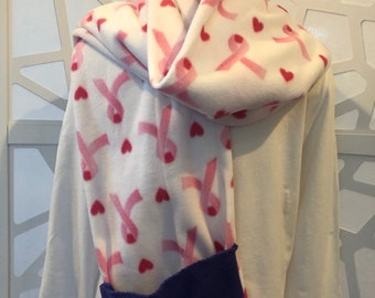 Handmade Fleece Breast Cancer Awareness Pocket Scarf