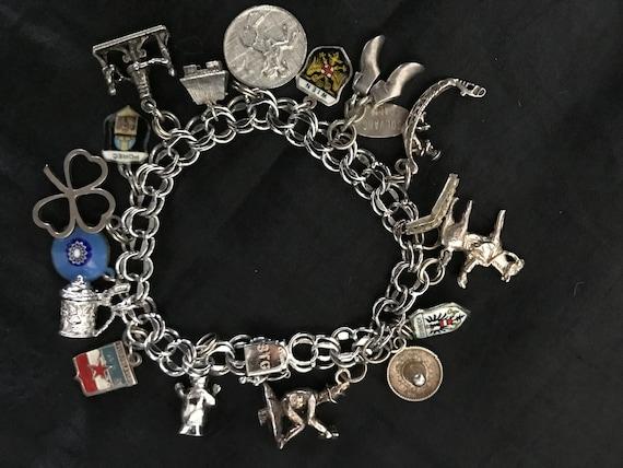 Vintage Sterling Silver Charm Bracelet - image 1