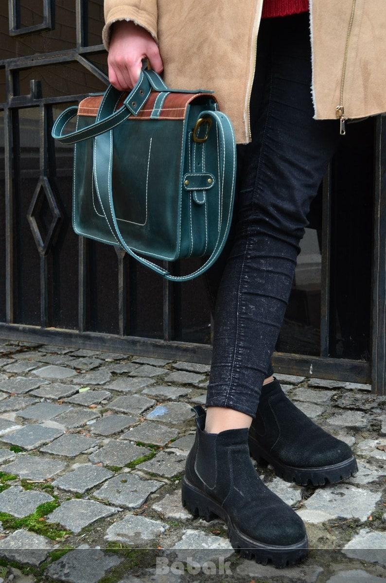 Laptop Leather  Satchel | Leather Messenger Bag Leather Briefcase Large Leather Shoulder Bag Handmade Man Crossbody Bag