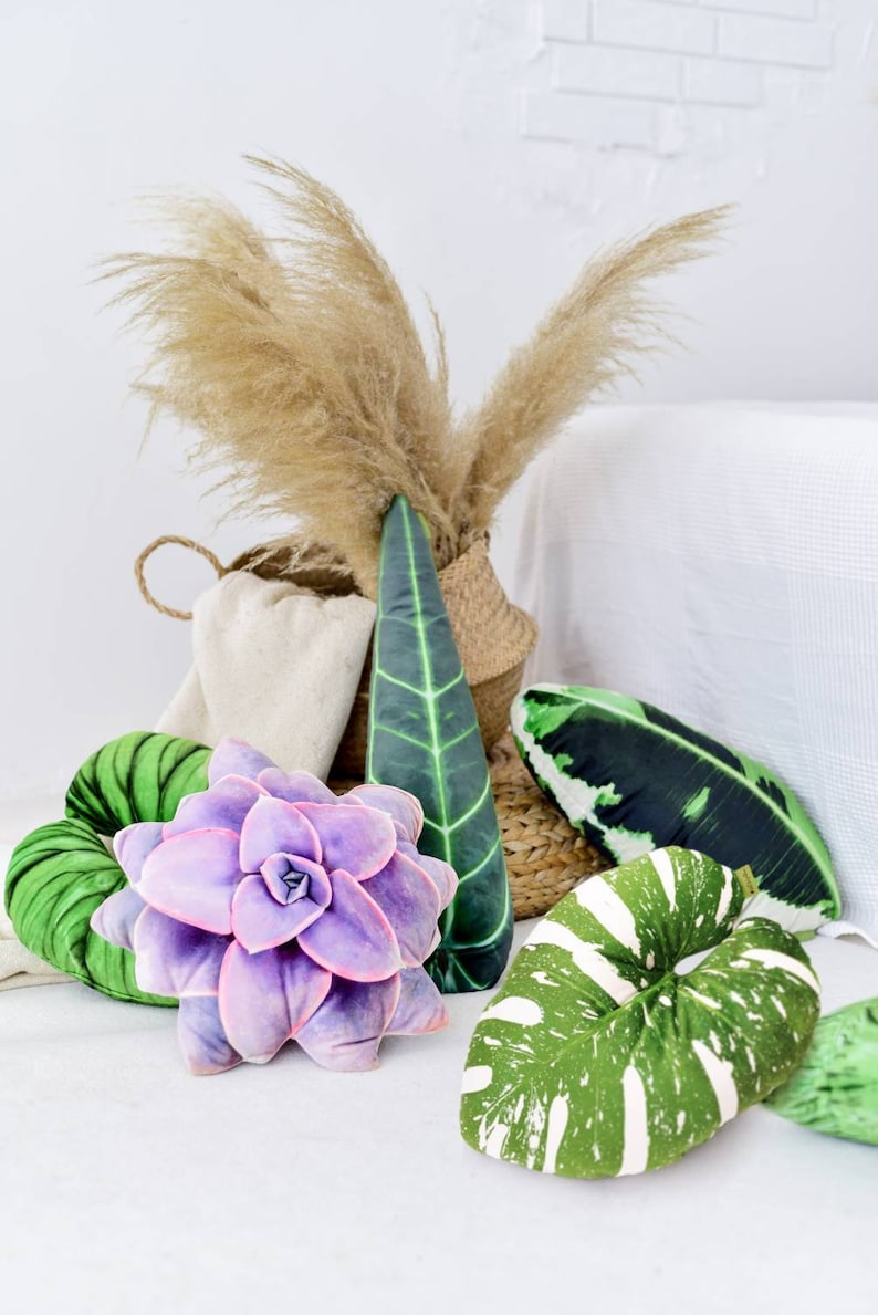 Plant mom gift leaf pillow green plant pillow gift for plant image 0