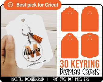 30 Keyring Display Card Svg Bundle, Keyring Display Card Template, Keychain Packaging, Key Ring Tag, keychain holder svg, Cut files cricut
