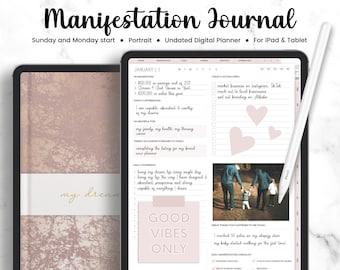 Manifestation Journal Portrait, Manifestation Workbook, Undated Planner, Gratitude Journal | Manifest Journal | Law of Attraction Journal